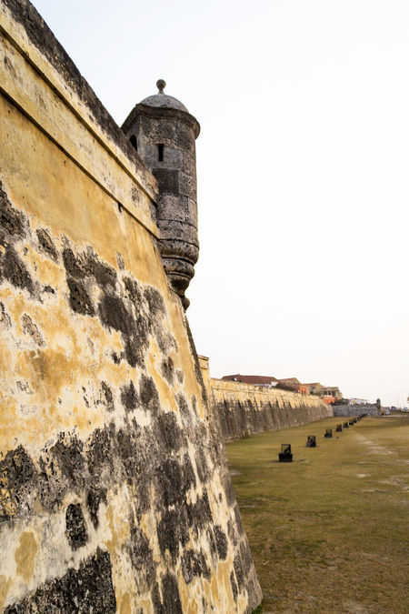 Detail of a segment of the fortified wall at Cartagena, Colombia. Caribbean Cartagena Castle Coastline Colombia Colonial Architecture Colony Defensive Dome Guard Historical Place Old Patrimony Pirate Ruin Rustic Seaside Sentinel Soldier Spanish Stone Stone Wall Structure Tourism Tower