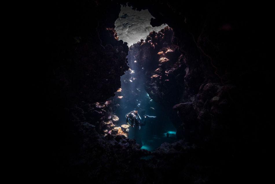 red sea Adventure Aquatic Sport Awe Beatiful Nature Cave Dark Diving Escape Explorer Extreme Adventures Extreme Sports Girl Light Light And Shadow Ocean RedSea Risky Scuba Diving Scubadiving Solo Solo Traveller Travel Photography Underwater Underwater Photography Unusual Beauty