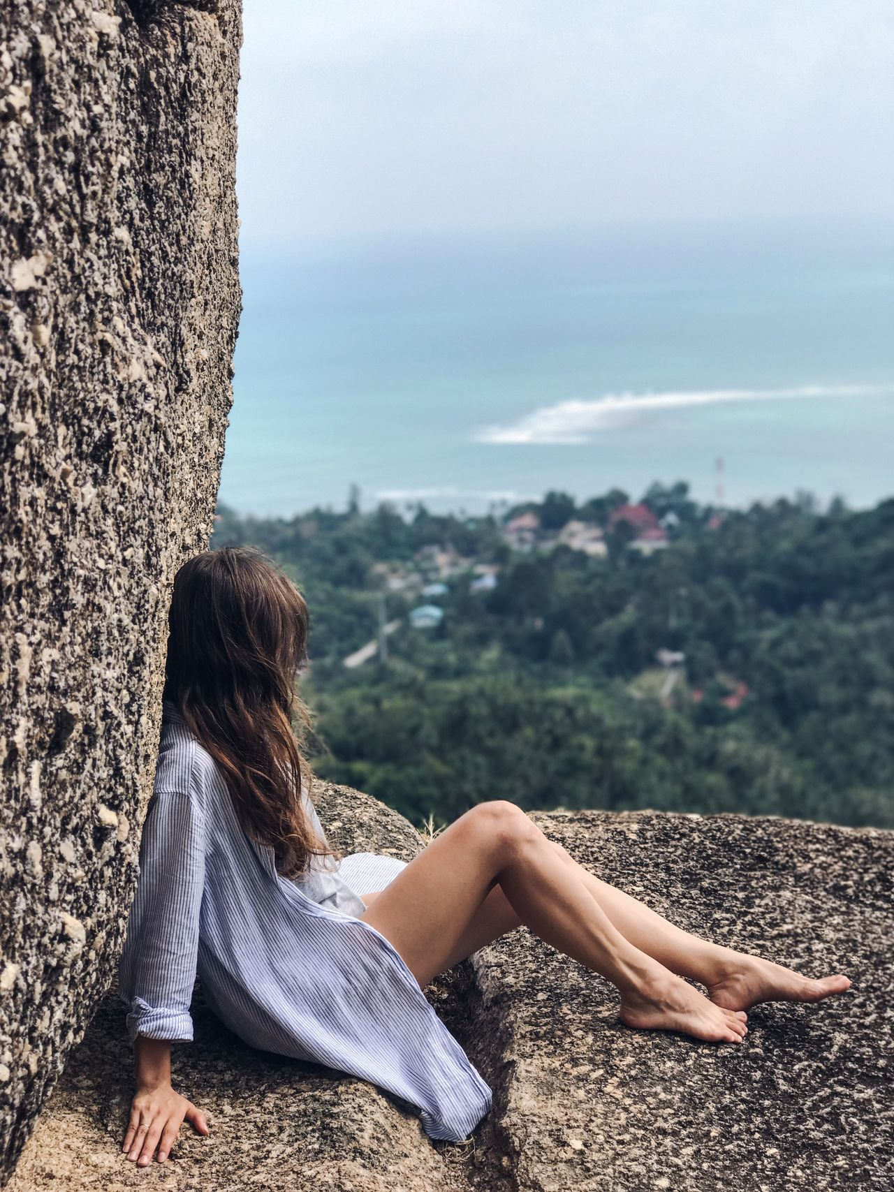 Adults Only Beautiful People Beauty Beauty In Nature Full Length Koh Samui Leisure Activity Long Hair Nature One Person One Woman Only One Young Woman Only Only Women Outdoors People Real People Relaxation Rock - Object Sea Sitting Vacations Water Women Young Adult Young Women