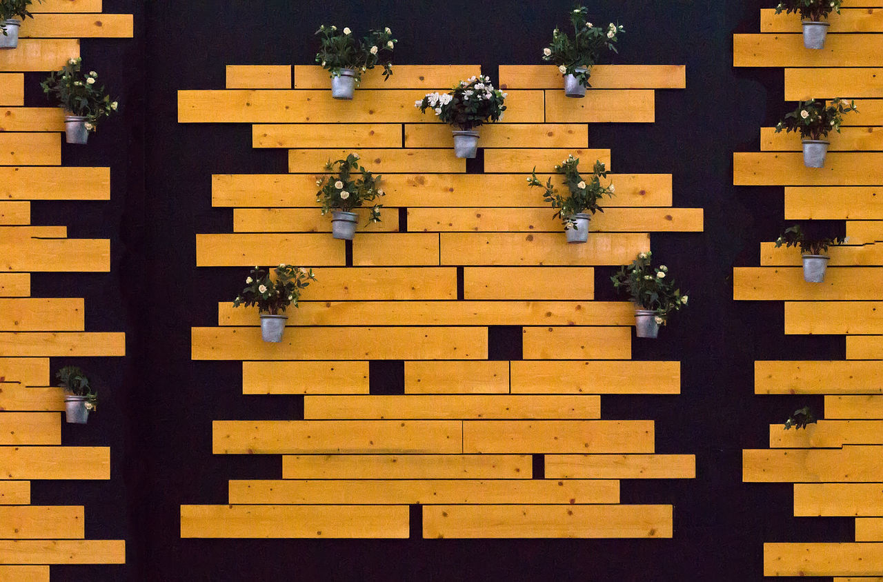 art design with wooden boards and buckets flowers Animal Themes Architecture Art Design With Wooden Boards And Buckets Flowers Art, Drawing, Creativity Buckets Buckets Flowers Building Exterior Built Structure Day Low Angle View No People Outdoors Wooden Boards Yellow