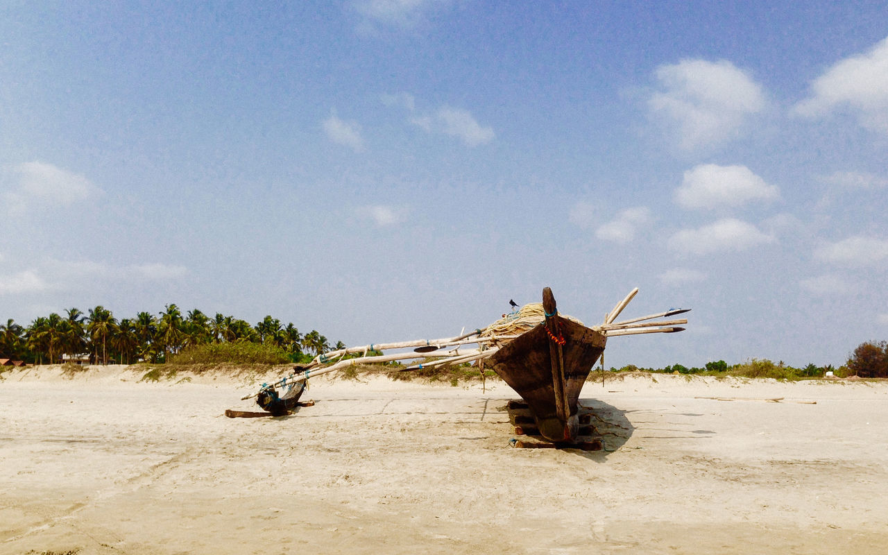Beach Boat Fishboat Goa India Indian Culture  Mode Of Transport Nature No People Outdoors Raven Sand Seaside Shore Sky Tranquility Wooden Boat Adventure Club Fine Art Photography Hidden Gems  Miles Away