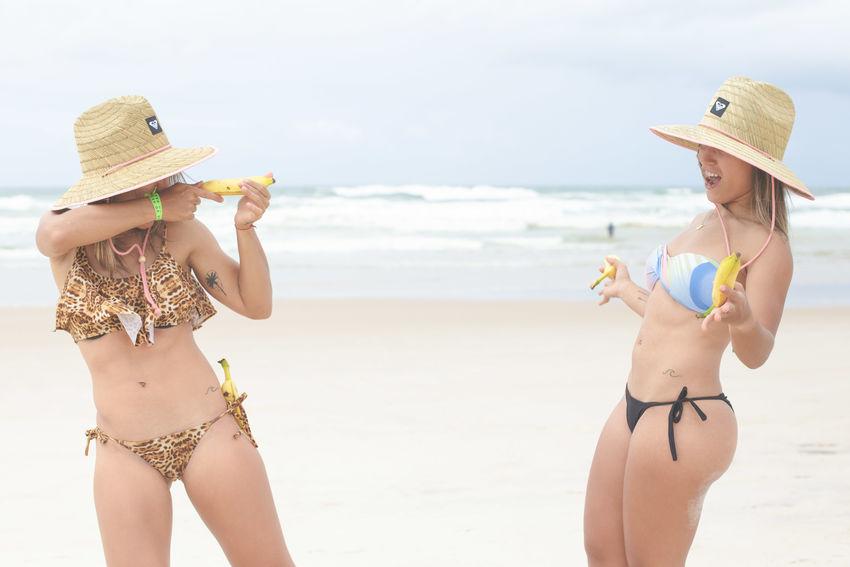 Check my blog for more photos www.alyonagamm.com Sisters Twins Twin Sisters ❤ Beach Bikini Bikini Time❤ Life Is A Beach Banana Beachphotography Surf's Up