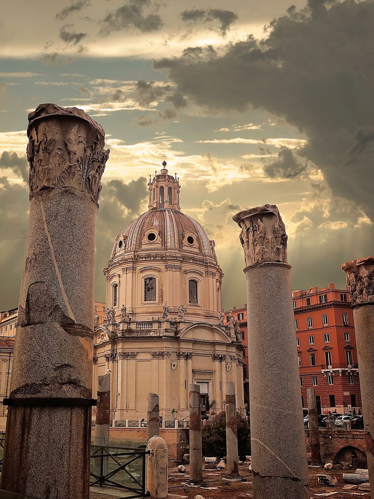 Ruins surrounding a church in rome Architecture Built Structure Building Exterior Spirituality Place Of Worship Religion Cathedral Sky Travel Destinations City Rome Roman Ruins Beautiful City Cloud - Sky Architectural Column History Famous Place Ancient Architecture Historic Architecture History Of Italy Italian History The Week Of Eyeem EyeEm Best Shots EyeEm Best Edits EyeEm Historical