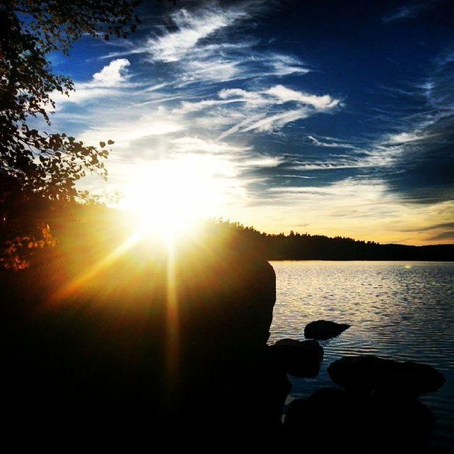 Sun sets over lake Taggen Sweden Yxnerum  östergötland Ninacombat atumn backlight sunset taggen