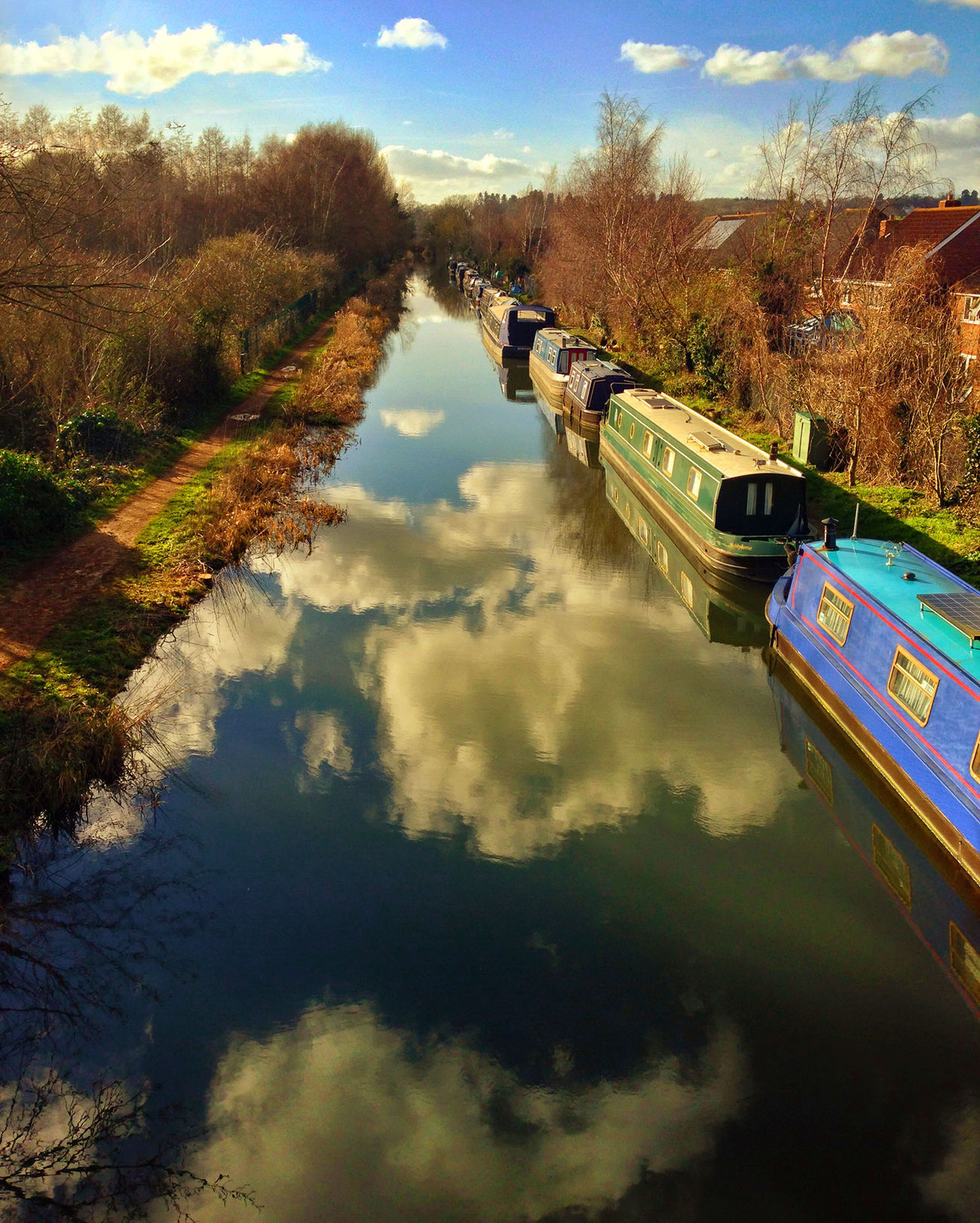 Barges on the Kennet and Avon Canal Architecture Beauty In Nature Cloud - Sky Day Mode Of Transport Nature No People Outdoors Reflection River Scenics Sky Transportation Tree Water