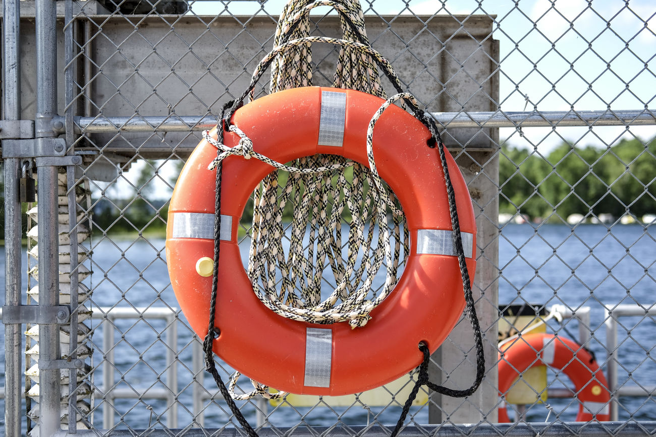 Blue Blue Sky Day Fence FUJIFILM X-T1 Fujifilm_xseries Fun Lake Life Saver Orange Color Outdoors Safety Summer Water Water_collection