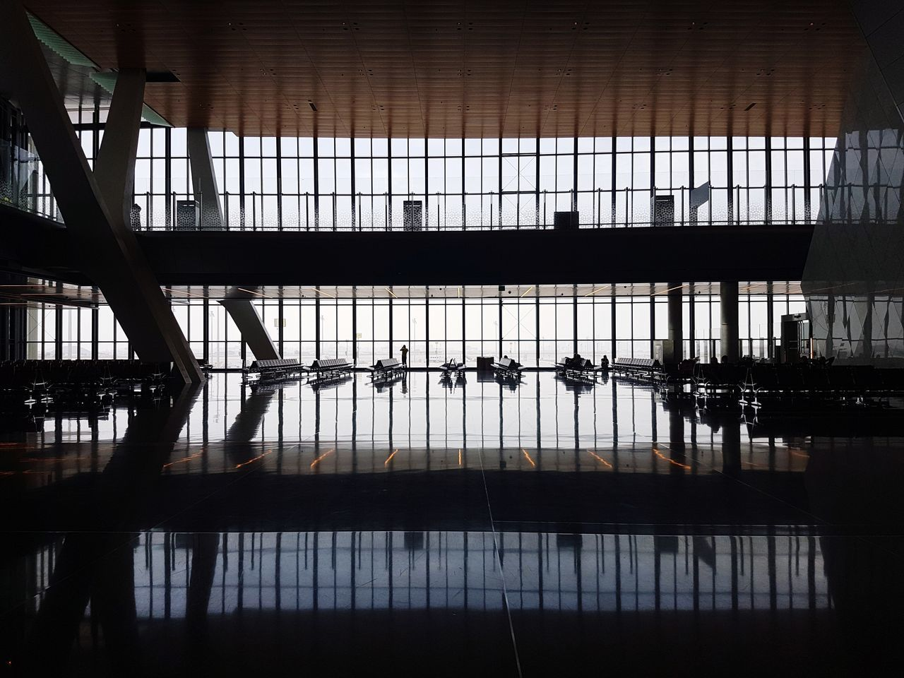 indoors, railing, reflection, silhouette, architecture, day, built structure, no people