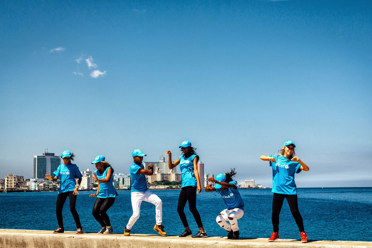 Blue Celebration City Life Cuba Collection Cuban Dancing Dancing Around The World Friendship Full Length Having Fun Lifestyle Malecon Old Havana Outdoors People Sky Streetphotography Teamwork Togetherness Travel Travel Destinations Unesco Young Adult