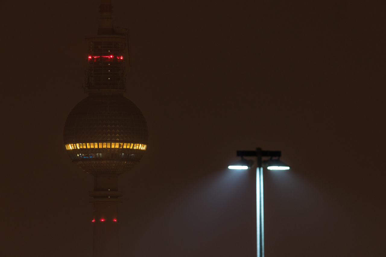 Architecture Berlin TV Tower Built Structure Capital Cities  City Dark Darkness And Light Fernsehturm Illuminated Lamp Light And Shadow Lighting Equipment Night Night Lights Nightphotography No People No People, Street Lamp Tower TV Tower