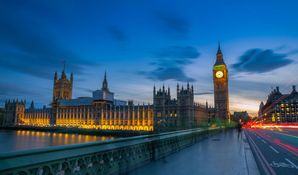 Blue hour. Palace of Westminster from Westminster bridge Travel Destinations Night Illuminated Urban Skyline Bridge - Man Made Structure Dusk Clock Tower Architecture Cityscape Government Sunset Water LONDON❤ Canon 5d Mark Iv London History Canon Tourism 5dmkiv Architecture City Built Structure Cloud - Sky Sky Outdoors