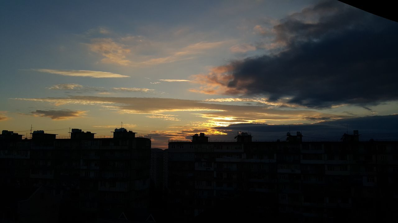 sunset, architecture, building exterior, city, built structure, silhouette, cityscape, sky, no people, outdoors, skyscraper