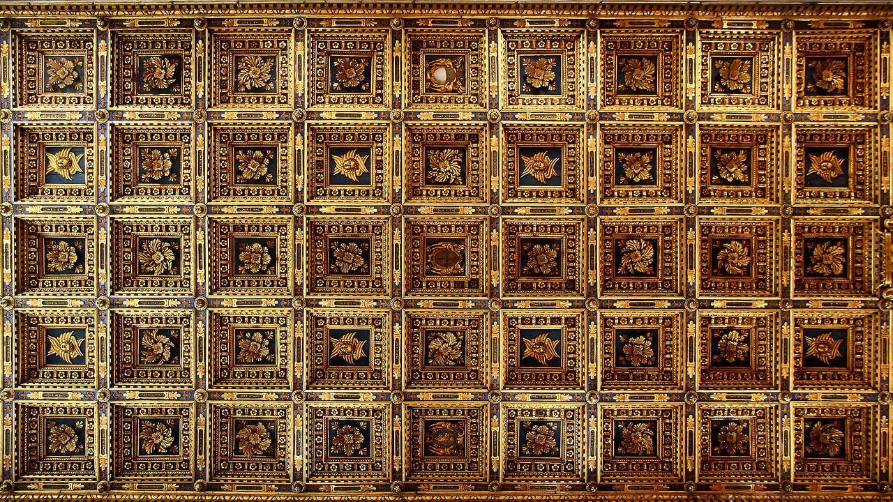 Soffitto a cassettoni della Cattedrale Ceiling Roof Rooftop Soffitto Backgrounds Full Frame No People Pattern Rooftop View  Rooftop Views Soffitto A Cassettoni