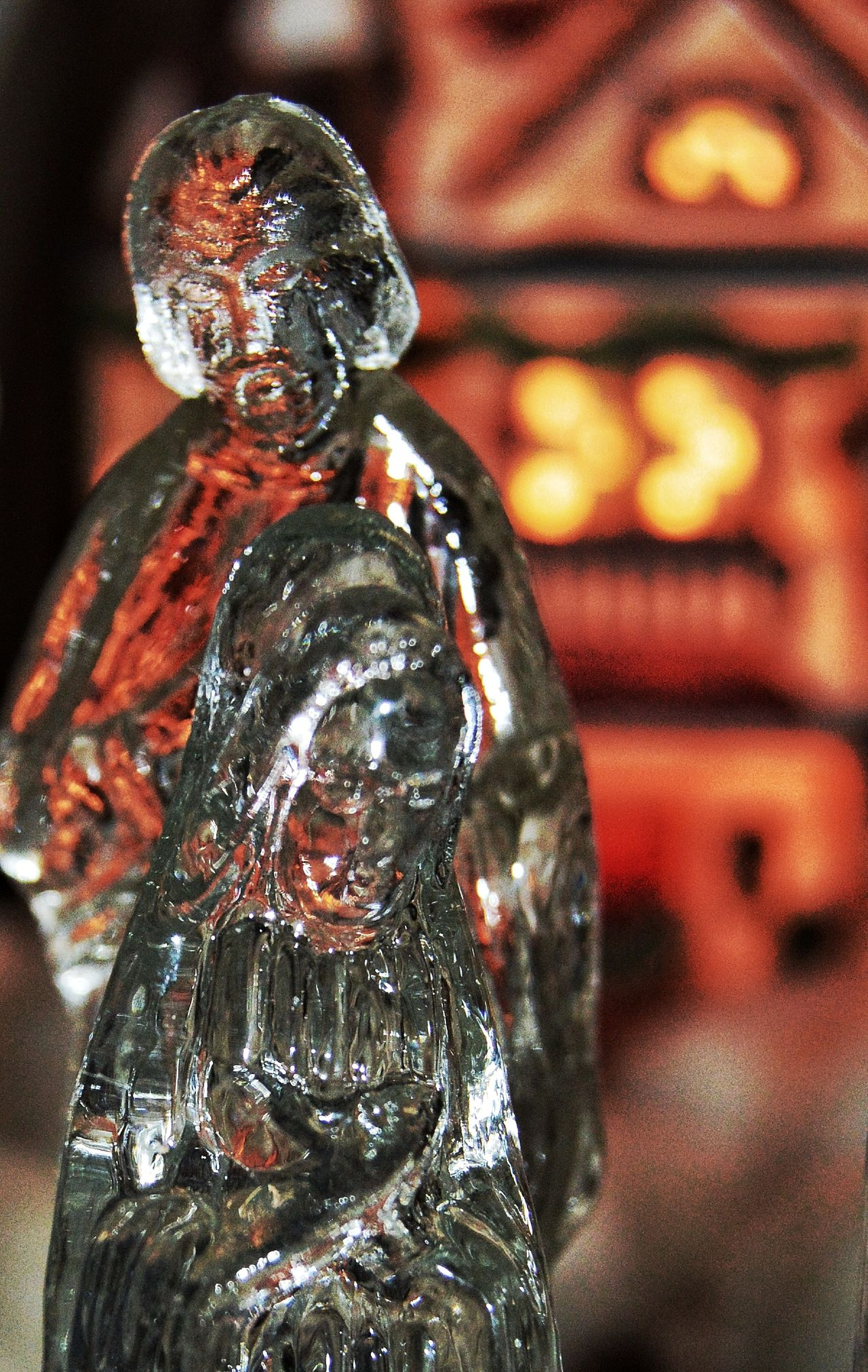 Mary and wiseman Christmas Close-up Crystal Holiday Illuminated Indoors  Lights In House No People