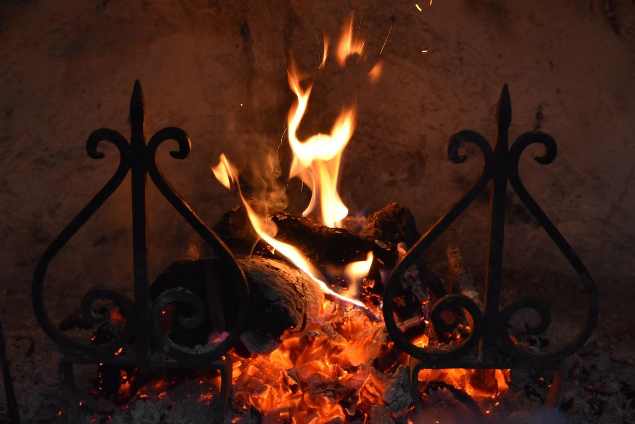 Fire - Natural Phenomenon Flame Burning Heat - Temperature Glowing High Angle View No People Night Bonfire Outdoors Fire Pit Close-up Exceptional Photographs Let's Do It Chic! EyeEm Best Shots Respect For The Good Taste Tranquility Tranquil Scene Selective Focus Chimney Calmness