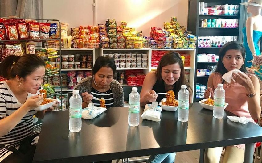 Samyang Spicy Noodles Challenge Food And Drink Indoors  Sitting Happy Hour Drinking Drink Food Adult