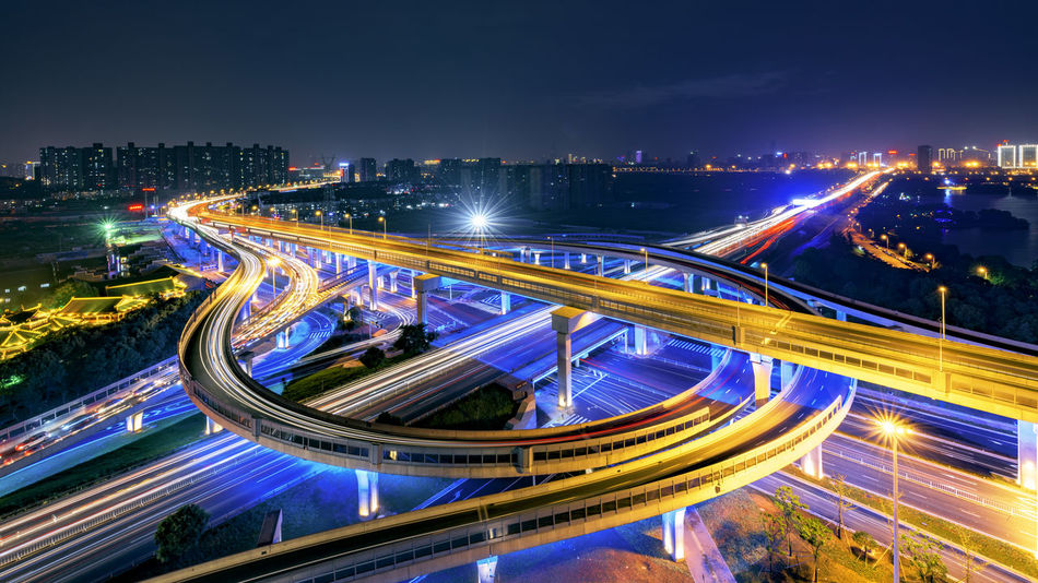 Wanjiali Overpass Architecture Battle Of The Cities Built Structure Changsha Changsha,China City City Life High Angle View Illuminated Light Trail Long Exposure Night On The Move Road Rush Hour Structure Transportation Urban Scene Vehicle Light Embrace Urban Life