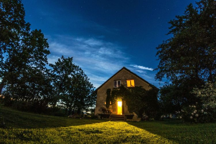 My house back in Latvia. ♡♡ Architecture Tree Built Structure Building Exterior House Grass Sky Field Illuminated Growth Lawn Outdoors Nature Tranquility Tranquil Scene No People Scenics Exterior Beauty In Nature Rural Scene Latvia Long Exposure Samyang Stars Houses