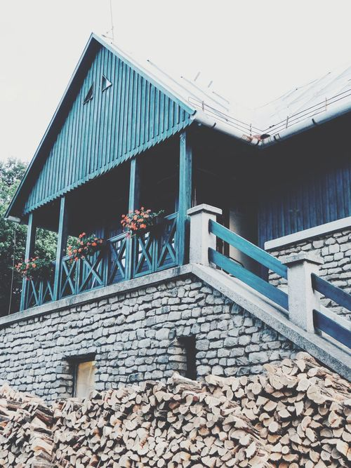 Architecture Built Structure Day Building Exterior No People Wood - Material Low Angle View Clear Sky Outdoors Sky House On The Hill Old House Flower Wood Firewood Breathing Space