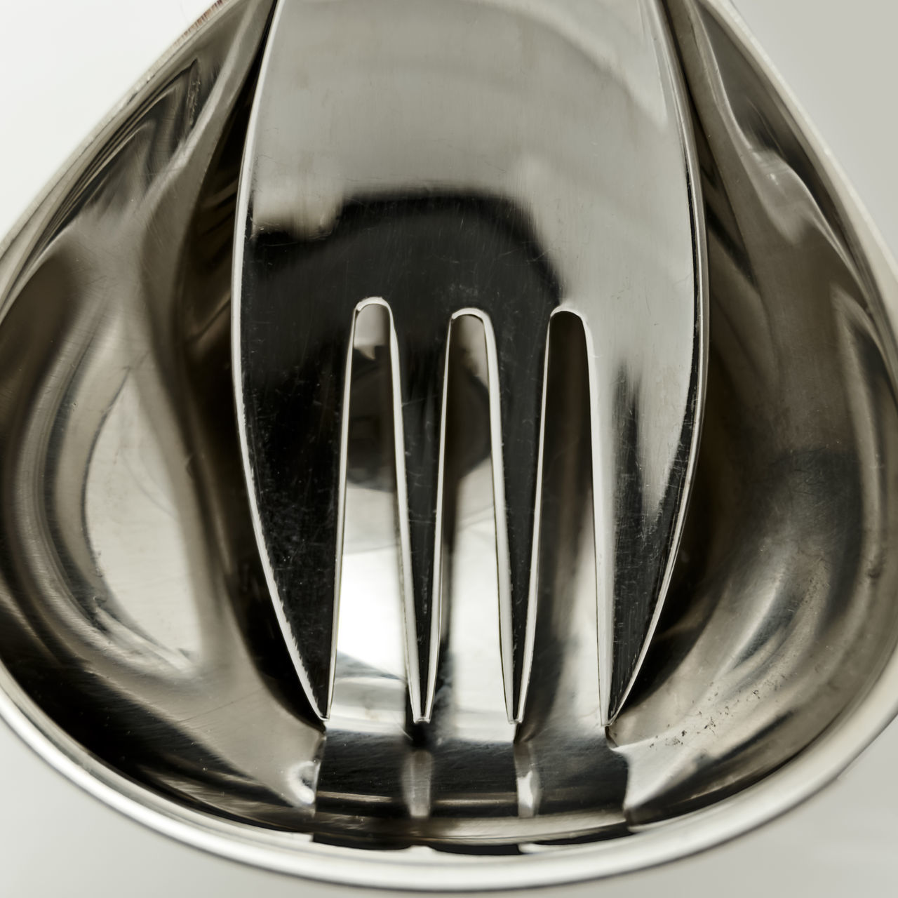 Hardware Abstract Close-up Cutlery Designer Tablew Ladle Salad Servers Studio Shot Sılver Visual Feast White Background