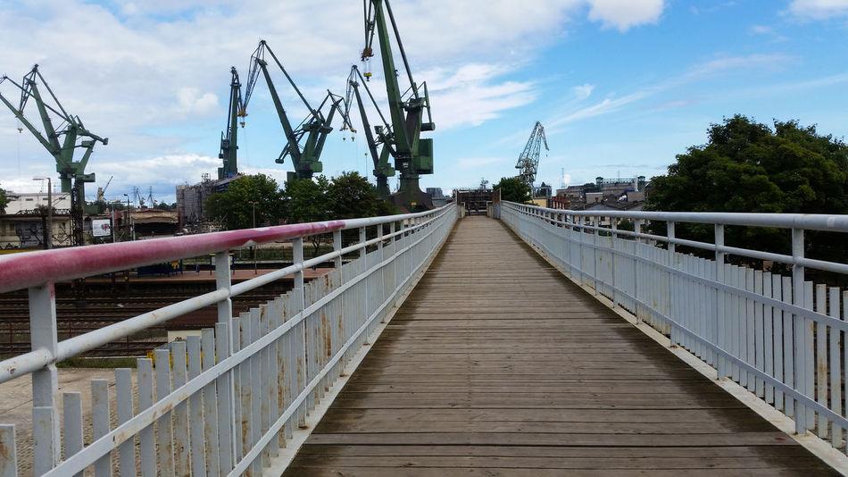 Railing Bridge - Man Made Structure Outdoors Sky Horizontal Day Footbridge No People Port Crains Solidarność Stocznia Bridge Geometry Perspective