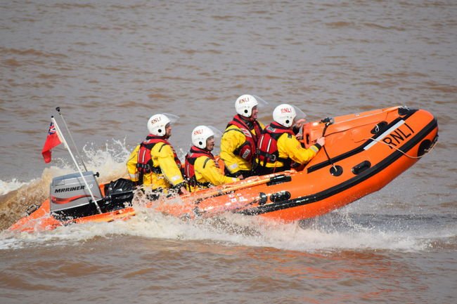 RNLI Open Day, August 2017. Withernsea lifeboat, Humber Lifeboat, RNLI Coastguard Rescue Helicopter Lifeboat RNLI Adult Adults Only Adventure Boat Challenge Coastguard Day Helmet Inflatable Raft Life Jacket Lifeboat RNLI Men Motion Nature Nautical Vessel Oar Outdoors People Rafting Rescue River Sea Sport Teamwork Water Winchman