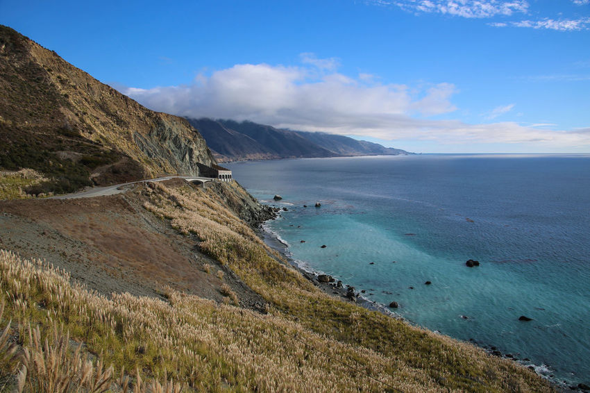Big Sur, California Beauty In Nature Big Sur California Cloud - Sky Day Grass Horizon Over Water Landscape Mountain Nature No People Outdoors Scenics Sea Sky Tranquil Scene Tranquility Water