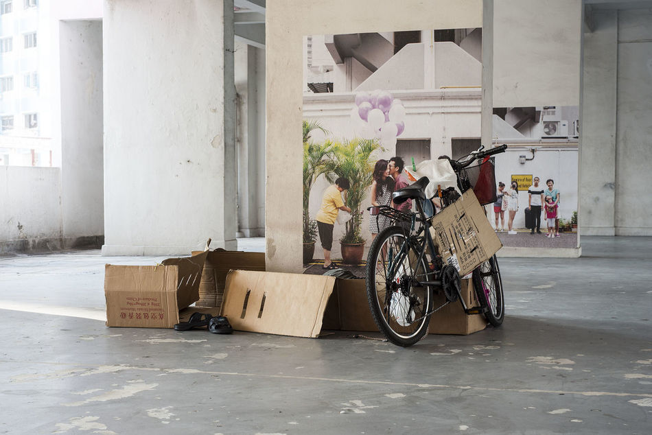 Bicycle Cardboard HDB Flats Homeless Rochor Centre Sleeping Void Deck Up Close Street Photography Telling Stories Differently