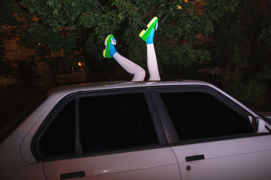 I've been waiting for you the whole week. It's time to play Automobile Car District Fashion Girl Hood Legs Linas Was Here Model Night Shoes Suburbs White