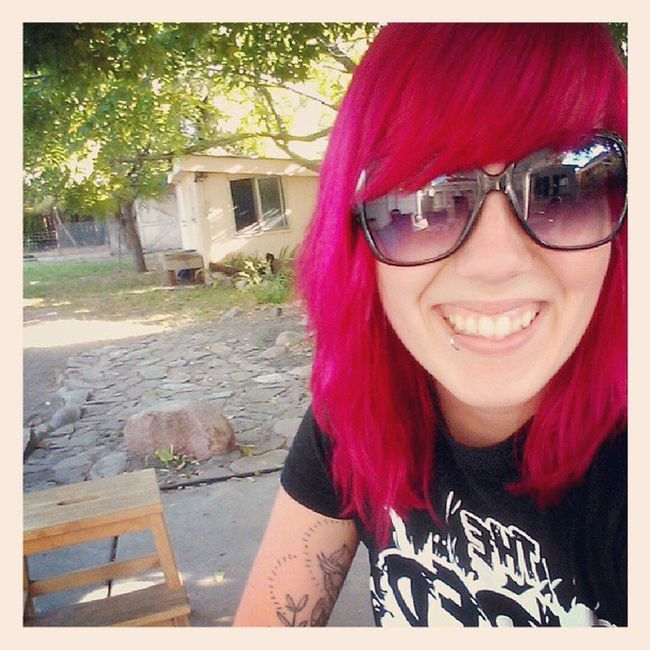 Back yard hangs with the pup Summer Red Redhair Rockingouttoparamore backyardhangs smile beautifulweather slc