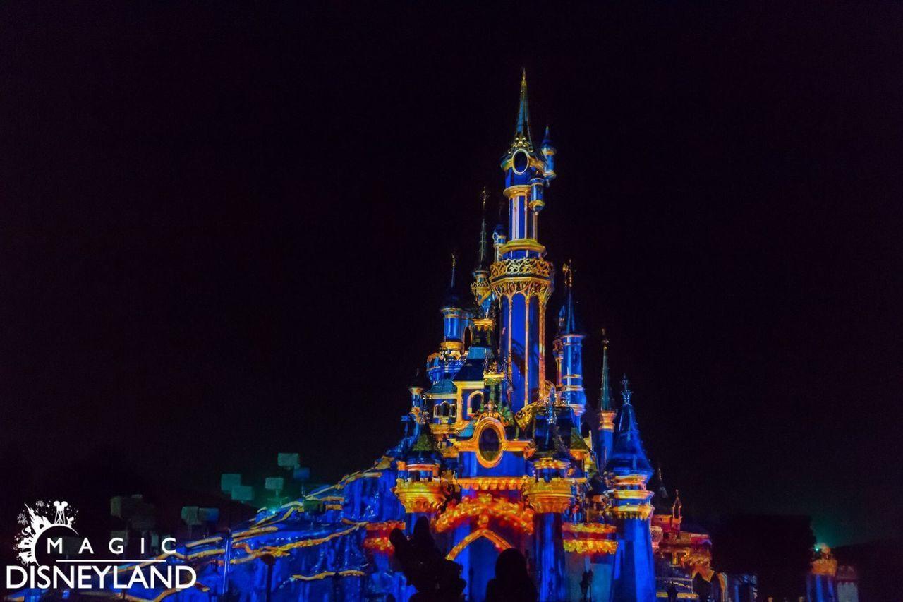 Night Illuminated Amusement Park Disneyland Resort Paris Disneyland Paris Firework Display Disneyland Disney Celebration Multi Colored