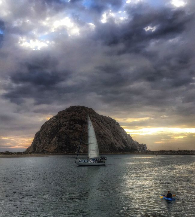 Another amazing sunset at Morro Rock in Morro Bay... Ocean Nature_perfection Clouds And Sky MorroBay California Morrobayrock Morrobay California Naturelovers Surfing Home Sweet Home Livingthedream Beach Life Nature_collection Beach Sailing Sailboat Sail Away, Sail Away Lososos Sunset Evening Sky