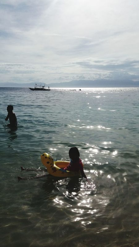 Water Sea One Person Floating On Water Child AyeEm Philippines  Summertime Phone Camera