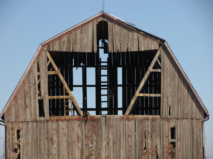 Barn Blue Sky Countryside Gray Mi Outdoors Weathered Bar Wood Wooden Structure