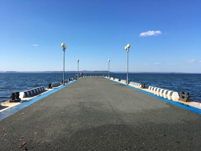 Street Light Sea Horizon Over Water Long The Way Forward Clear Sky Narrow Tranquility Empty Blue Calm