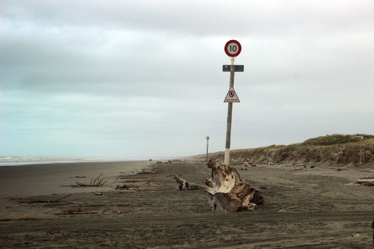 Animal Themes Animals In The Wild Arid Climate Beach Beach Photography Cloud - Sky Day Driftwood Driftwoof Landscape Nature No People One Animal Outdoors Road Sand Sky Speed Limit Speed Limit Sign