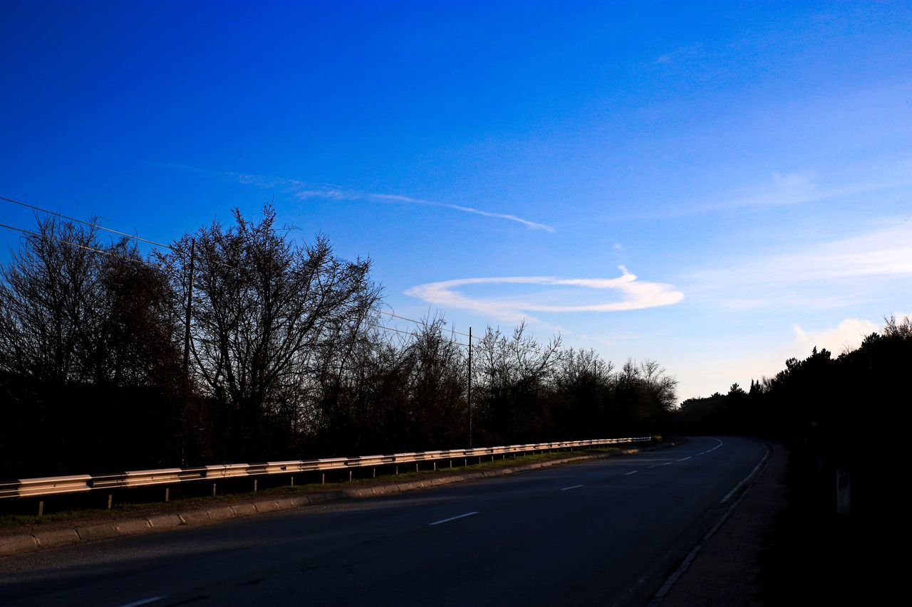 road, blue, the way forward, transportation, tree, sky, nature, landscape, no people, outdoors, beauty in nature, day