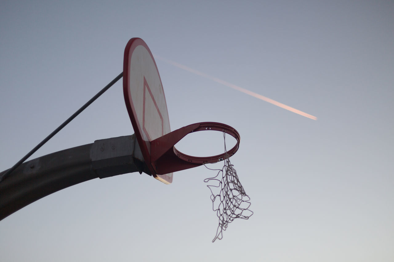 Hoop at twilight Airplane Streak Basketball Basketball Court Getting Dark Hillside Hoop Net Ocean View Orange Glow In The Sky Outdoors Pink Glow In The Sky Shallow Depth Of Field Sky Twilight
