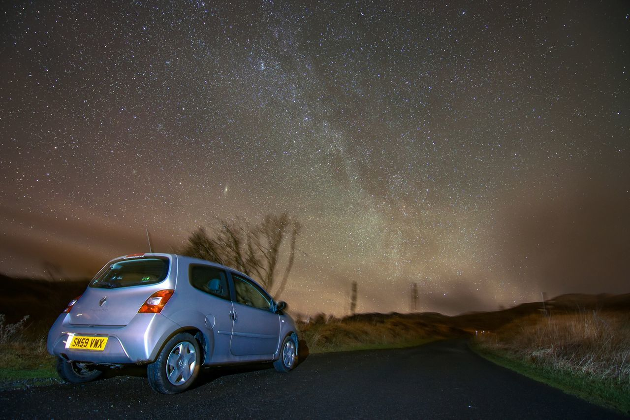 Renault TWINGO Scotland Ben Lawers Rural Astrophotography Starry Sky Milkyway Traveling Home For The Holidays Roadtrip Starscape Astronomy Nature Outdoors Tokina 11-16 Mm F/2,8