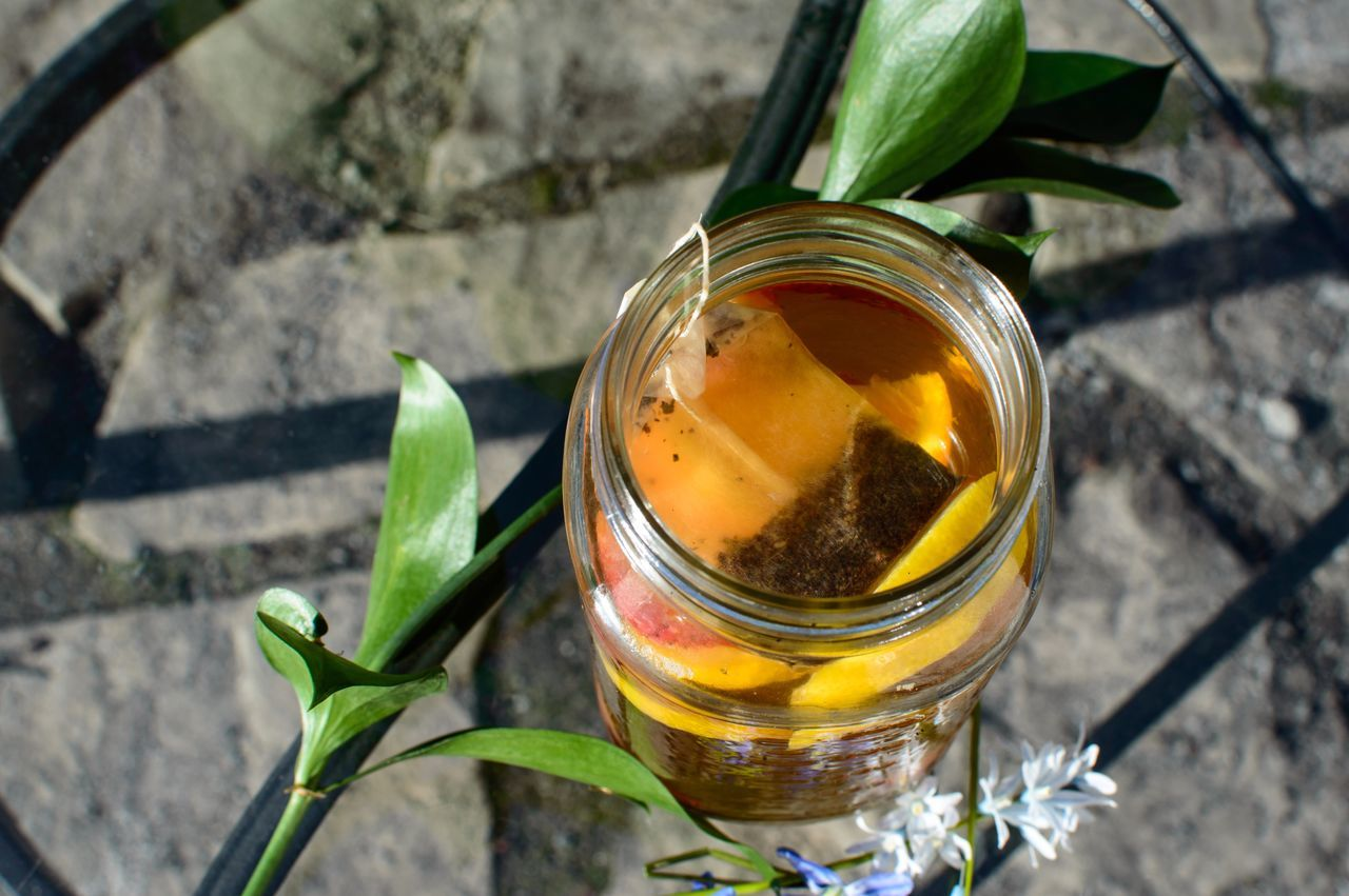 leaf, jar, food and drink, high angle view, freshness, no people, food, close-up, outdoors, healthy eating, herbal tea, mint tea, day, nature