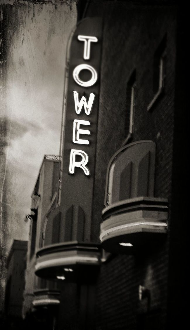 Behind the Tower Black and White Archtech Black And White Sign