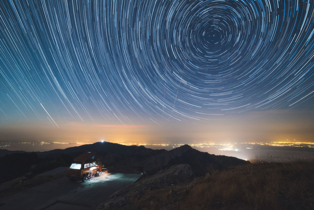 Star Trails over Mount Ipsarion. Adventure Awesome Beautiful Beautyful  Close-up Exposure Exposure Experimentation Feather  Greece Stars Starscape Trails The Great Outdoors - 2017 EyeEm Awards