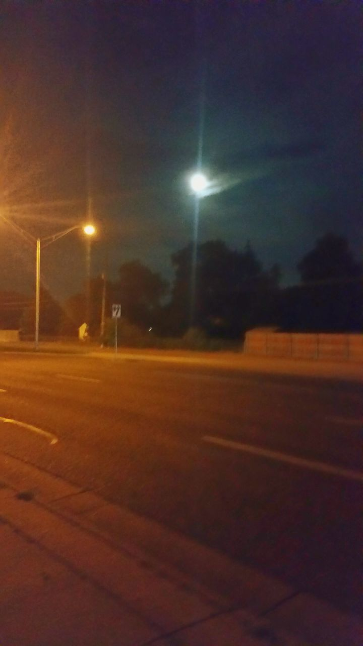 night, illuminated, road, sky, no people, outdoors, transportation, nature, soccer field