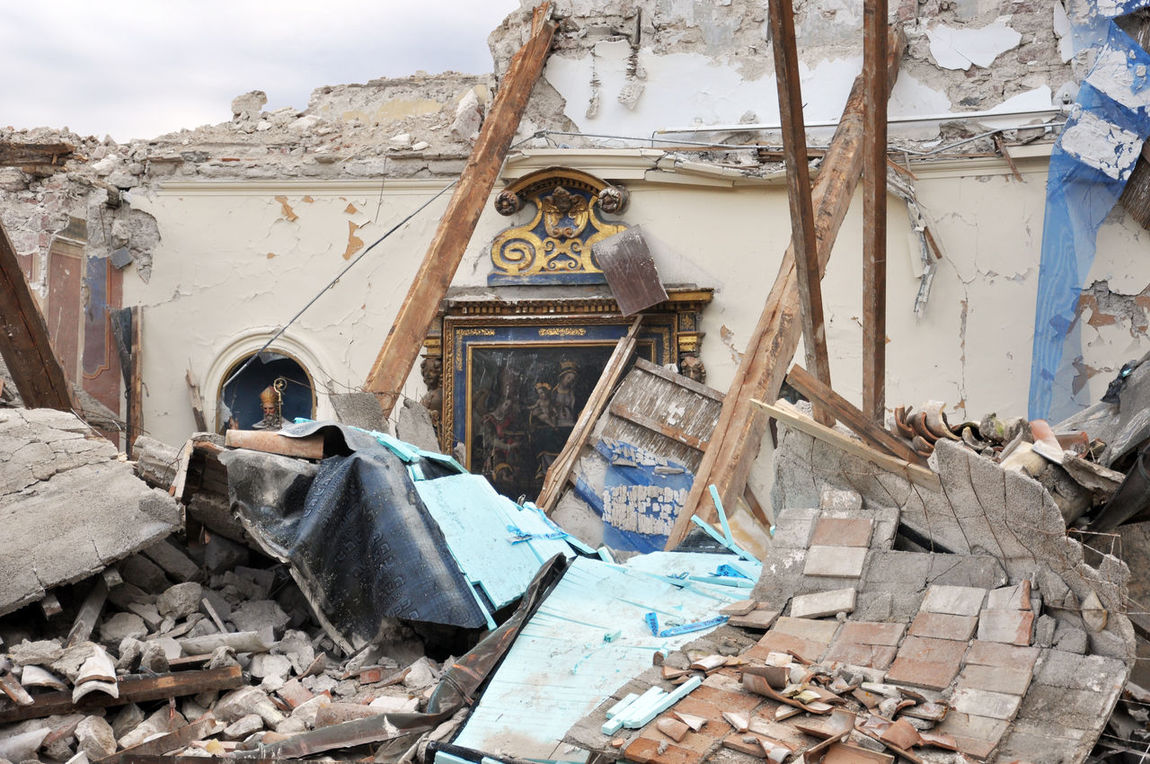 2016 earthquake in central Italy, profaned sacred Architecture Building Exterior Christianity Church Collapsed Day Dramatic Sky Earthquake Earthquake In Italy Emotional No People Outdoors Rubble Sacred Art Sacred Icons Sacred Places Sky Terremoto