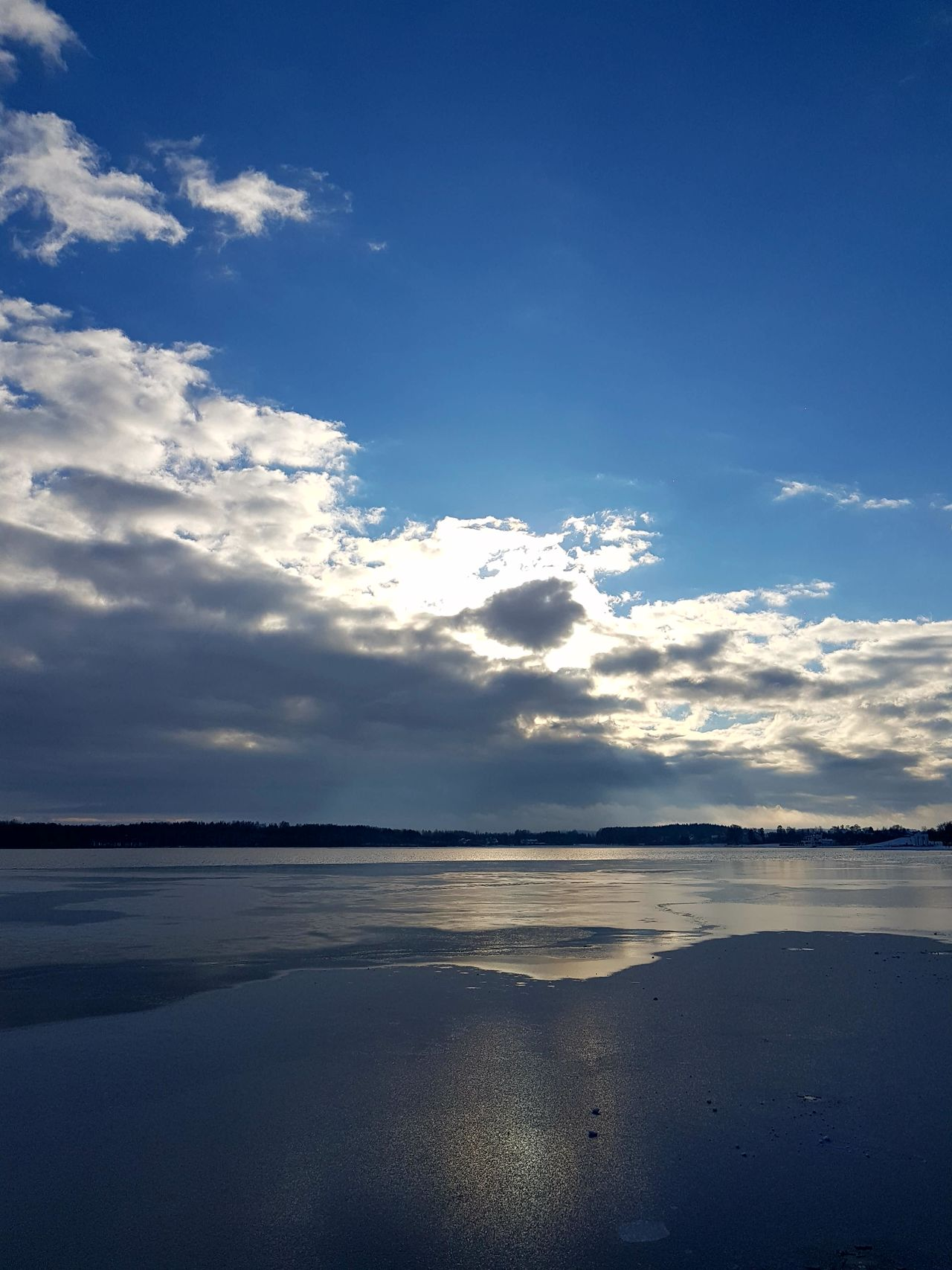 Winter Water Horizon Over Water Icecold Ice Snow Landscape Lake Blue Sky And Clouds Sky Clouds