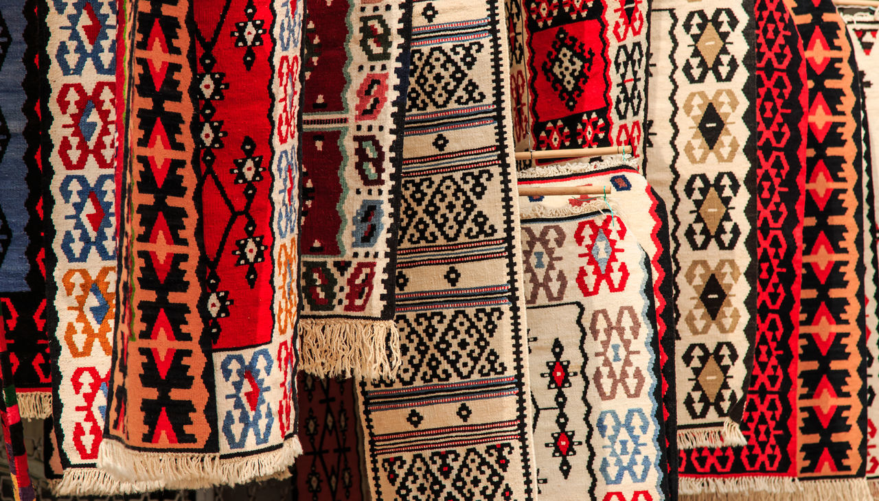 Artigianal carpets for sale in Skopje Architectural Feature Architecture And Art Balkans Close-up Culture Day Design East Europe Focus On Foreground Full Frame Macedonia Place Of Worship Red Skopje Temple - Building Textile