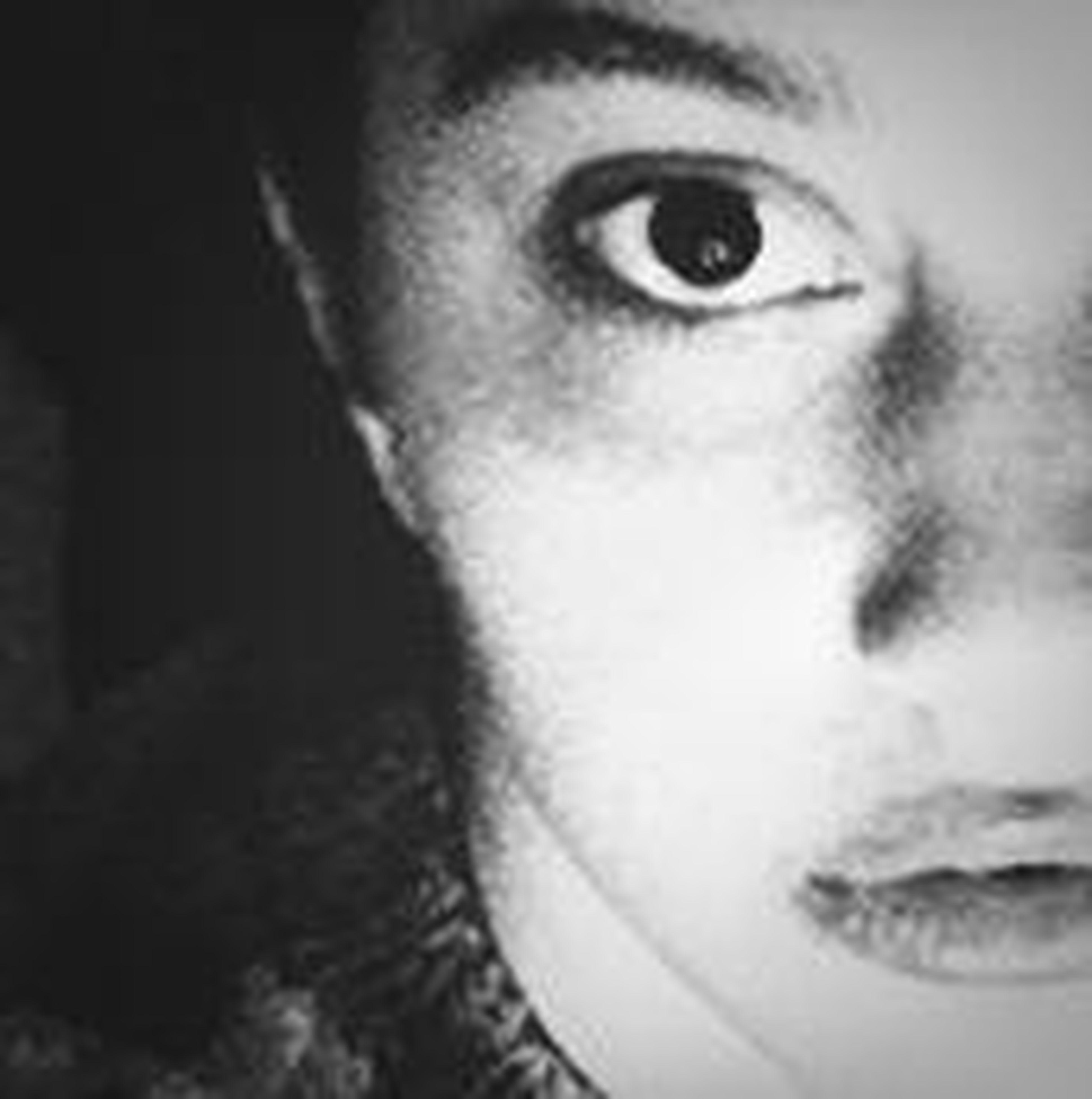 close-up, portrait, looking at camera, indoors, human face, headshot, human eye, part of, lifestyles, front view, human skin, studio shot, staring, eyelash, young adult, serious, eyesight