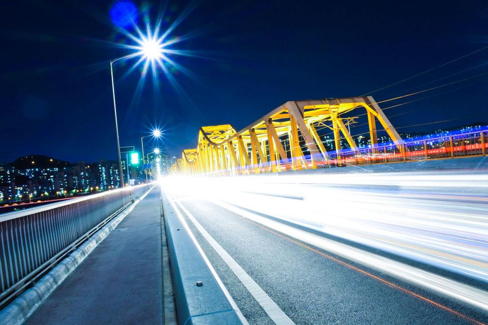 Seoul_korea Hangang River Hangang Bridge Donghodaegyo Nightview Carlighttrails Seoul Metro Seoul Subway Apgujeong