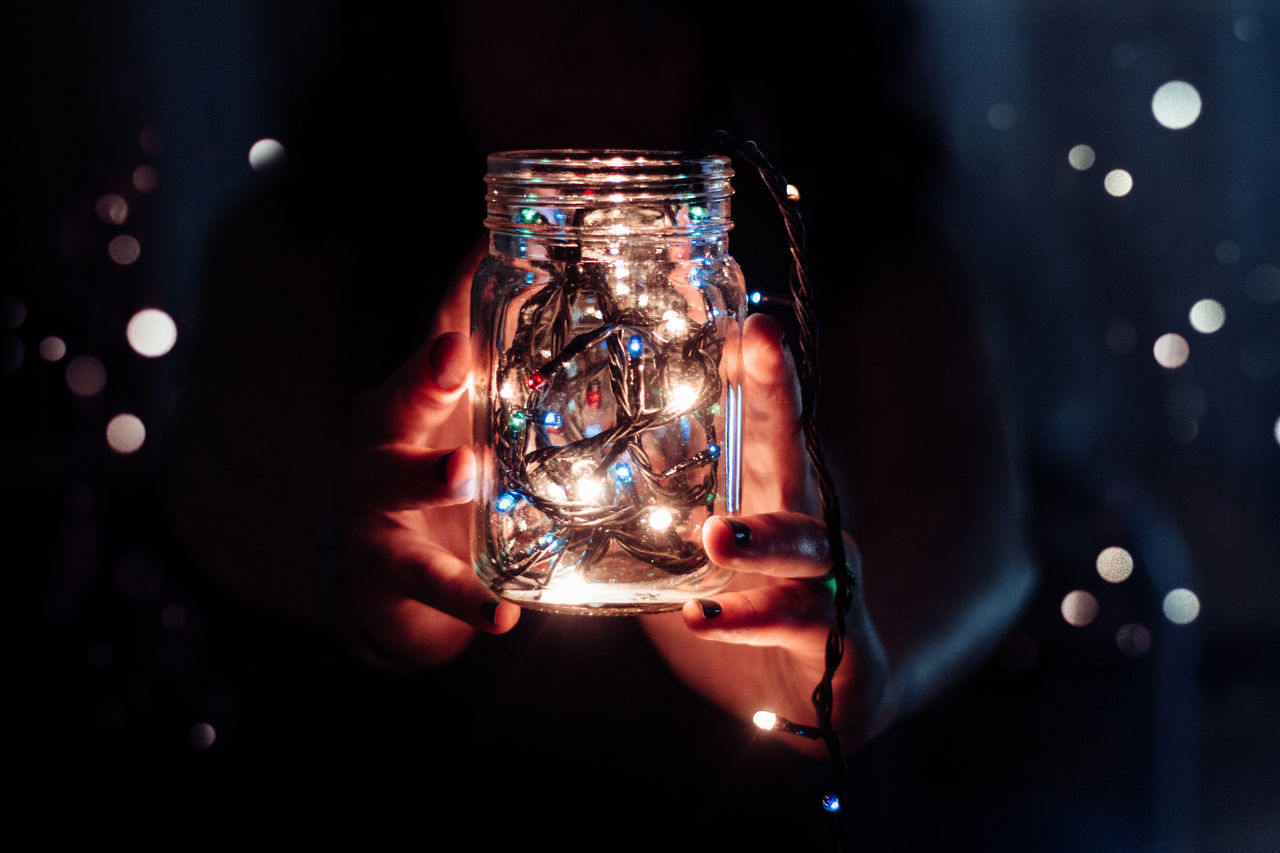 Bokeh Bright Canon Christmas Lights Close-up Dark Dots Electric Light Focus On Foreground Girl Glass Hands Holding Home Illuminated Jar Light Lighting Equipment Modern Multi Colored Room VSCO Enjoy The New Normal