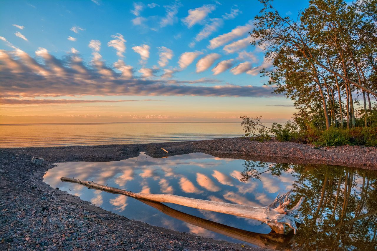 Remembering Summer? It really is on its way! Sea Sky Outdoors Cloud - Sky Beach Horizon Over Water No People Sunset Nature Scenics Tree Beauty In Nature Water Day Malephotographerofthemonth Streamzoofamily Lake Superior