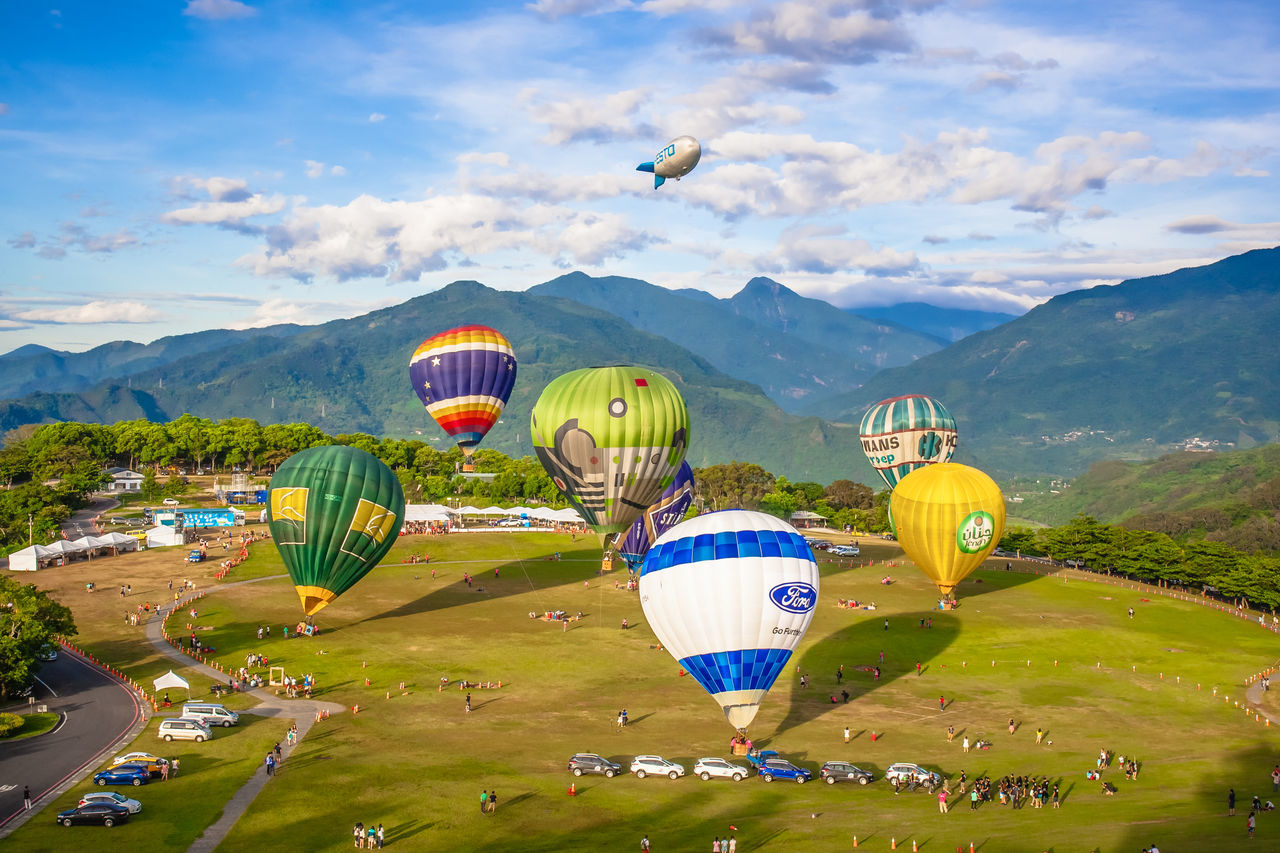 Adventure Air Vehicle Ballooning Festival Cloud - Sky Day Flying Hot Air Balloon Landscape Mountain Multi Colored No People Outdoors Transportation Travel Travel Destinations